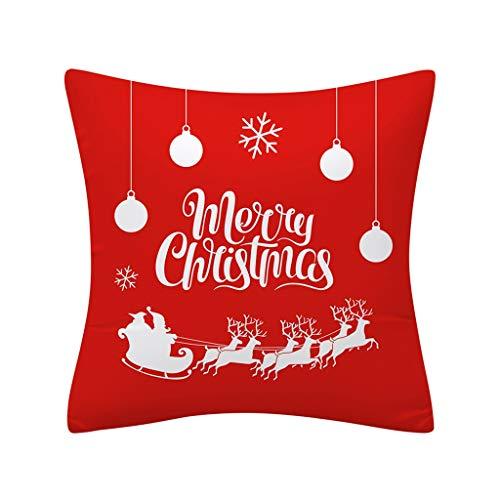 Frashing Kissenbezug Weihnachten 45 X 45 cm, Kissenbezüge Cartoon drucken Rot Sofakissen Sofa Schlafzimmer Kissen Kissenbezug für Festliche Kissenhülle Christmas Dekorative