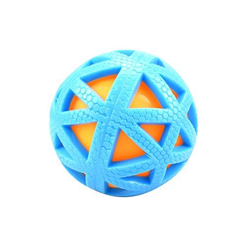 NaiCasy Chew Hund Haustier Ball langlebig Treat IQ unzerstörbare Bälle Bunte Kugel von Bell Hund tragbar Doppelte Abdeckung für Haustiere Spielball Blau Versorgung Kleintiere
