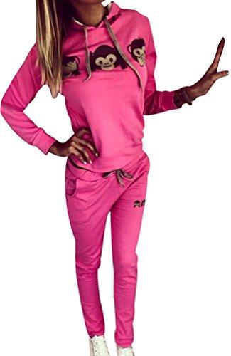 Trainingsanzug Frauen Jogginganzug Trainingsanzüge Damen Sportanzug Freizeitanzug Jogginganzüge Für Damen Anzug Tracksuit Fitnessanzug Streetwear Muster Drucken Hoodie Sweatshirt mit Hose Rose XL