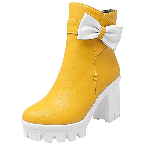Artfaerie Damen Chunky High Heels Ankle Boots Plateau Stiefeletten mit Schleife und Reißverschluss Rockabilly Warm Schuhe(EU 39,Gelb)