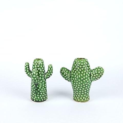 Jeu de deux vases en forme de cactus -
