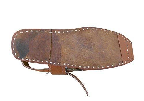 kalra Creations Veste en cuir traditionnel Indien Étui Sandales Marron