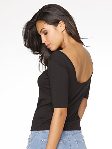Kim Kara Damen Shirt Oberteil Sexy Rundhals Ausschnitt Hinten Schwarz