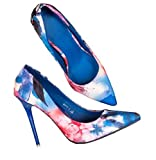 Angshanxia Heel Shoes Woman Platform High-Heeled Shoes Fashion Printing Business 0L Women Shoes Sexy High-Heeled Female Pumps Blue 4.5