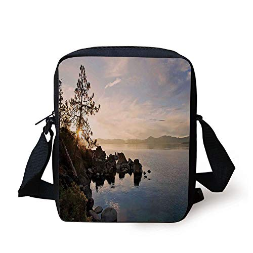 Lake,Lake Tahoe at Sunset with Clear Sky and Single Pine Tree Rest Peaceful Weekend Photo,Blue Grey Print Kids Crossbody Messenger Bag Purse -