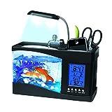 Tanque de peces de acuario Mini USB LCD Luz de escritorio Acuario LED Linterna subacuática Creativo acrílico multifuncional Tenedor de la pluma Hora Fecha Alarma Temperatura Toque Cuadrado Acuario