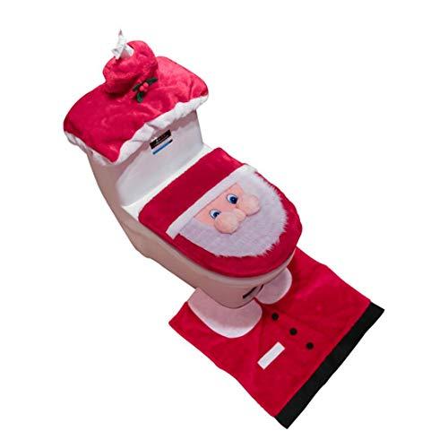 Upxiang 3pcs WC Sitzbezug Teppich Badezimmer Set Fancy Santa und Weihnachten Dekor WC Sitzbezug (Rot)