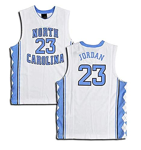 LSJ-ZZ Basketball Jersey Herren North Carolina University Ausgabe Nr. 23 - Michael Jordan Besticktes Retro-All-Star-Jersey-Sportoberteil,White,XXL:190cm/95~110kg - Jordan Bestickt Shorts