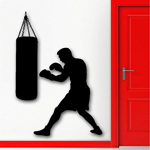 Qqasd Boxen Boxer Sport Wandtattoo Boxsack Martial Sports Wandaufkleber Vinyl Kunstwand Tapeten Für Jungen Schlafzimmer 42x58 cm (Sport-notizen)
