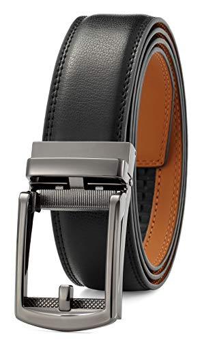 Men's leather belt with automatic buckle 35 mm wide for ratchet Black0013 Small