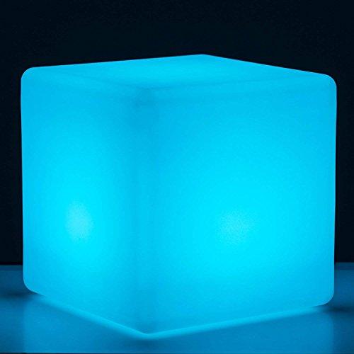 Ξ AO Star 16-Inch Rechargeable LED Light Cube Stool Waterproof With Remote Control RGB Color Changing Side Table Home Bedroom Patio Pool Party Mood Lamp Night Light Romantic Decorative Lighting