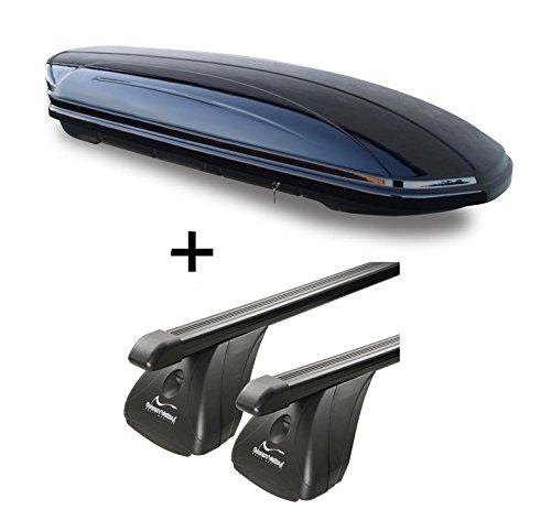 Dachbox VDPMAA320 320Ltr abschließbar schwarz + Stahl Dachträger Aurilis Original für Mazda CX-5 (5Türer) ab 2012
