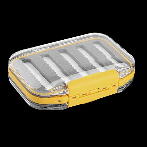 Kunststoff und Schaumstoff 4,3 x 2,75 x 1,2 Kunststoff Wasserdicht Fliegenfischen Double Side Clear Slit Foam Fliegenfischen Box Fly Box Tackle Case Box - Gelb -