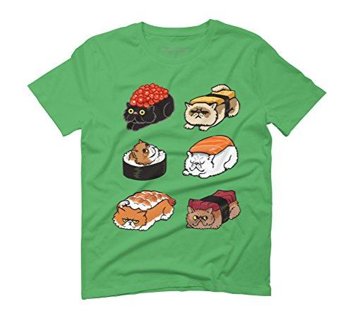 Sushi Persian Cat Men's Graphic T-Shirt - Design By Humans Green