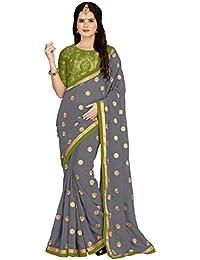 Vaidehi Fashion Georgette Saree With Blouse Piece (Eww_10660_Mehndi_Free Size)