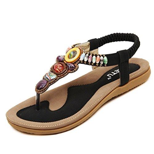 iLory Femmes de Bohême Simple Sandales été Tongs flip plat Flops Sandales avec Bohême Perles Chaussures Noir