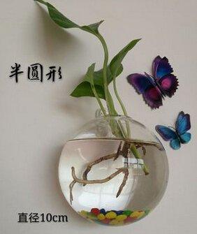 BELUPAI Wandhängende Aquarien, transparent, rund, Acryl-Fischschüssel, Wandmontage, Aquarium, Heimdekoration, Pflanztopf, Hydrokultur-Topf
