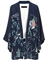 Phoenix Printed Kimono Loose Casual No Buckle Coat With Lining WF-4817
