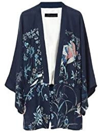 Phoenix Printed Kimono Loose Casual No Buckle Coat With Lining WF-4817