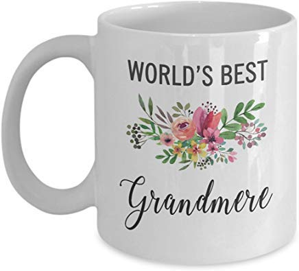 white Mug Gift for Grandmere-Mug Idea for French Grandmother-Worlds Best Awesome Mother's Grandparent's Day Coffee Cup - French White-mug