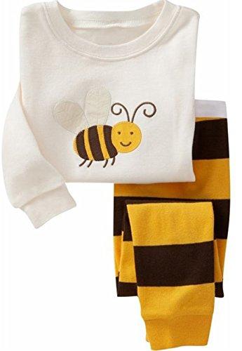 "Milanao Boys Baby "", 2 pezzi, 100% cotone, motivo a maniche lunghe Homewear Sleep & Pajama Set maglietta, pantaloni, 2-7 anni Bianco Bee 4 anni"