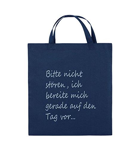 Comedy Bags - Bitte nicht stören, ich bereite mich gerade auf den Tag vor. - Jutebeutel - kurze Henkel - 38x42cm - Farbe: Schwarz / Silber Navy / Eisblau