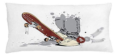 Icndpshorts Teen Room Throw Pillow Cushion Cover, Skateboard with Boy Feet in The Sneakers and Jeans Illustration, Decorative Square Accent Pillow Case, 18 X 18 inches, Grey Cream Chestnut Brown