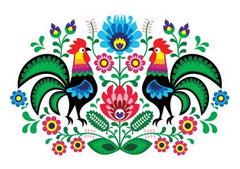 "Alu-Dibond-Bild 130 x 90 cm: ""Polish floral embroidery with cocks - traditional folk pattern"", Bild auf Alu-Dibond"