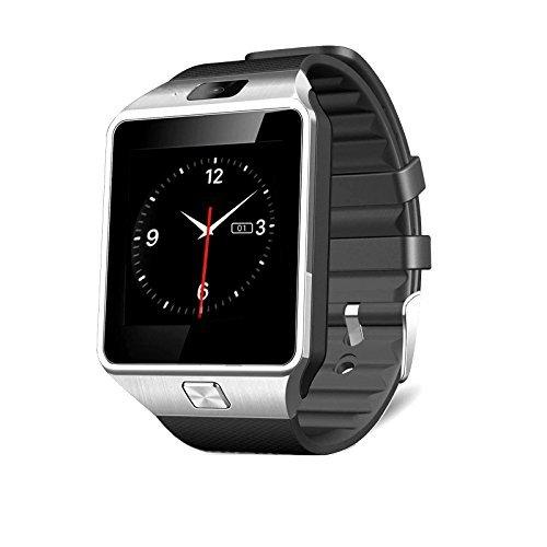 MallTEK Smartwatch mit SIM Karte Slot Smart Armband Smart Watch 1.56 Zoll Intelligent Clock Mehrsprachig und Multifunktions mit BT Benachrichtigung für Sony HTC HUAWEI Samsung und andere Android Handy Smartphone - Silber (Seite Plus-iphone 6-sim-karte)