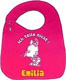 größenverstellbares Baby Wende Lätzchen NEU (pink-navy) Ich teile nicht und den Namen Ihres Kindes