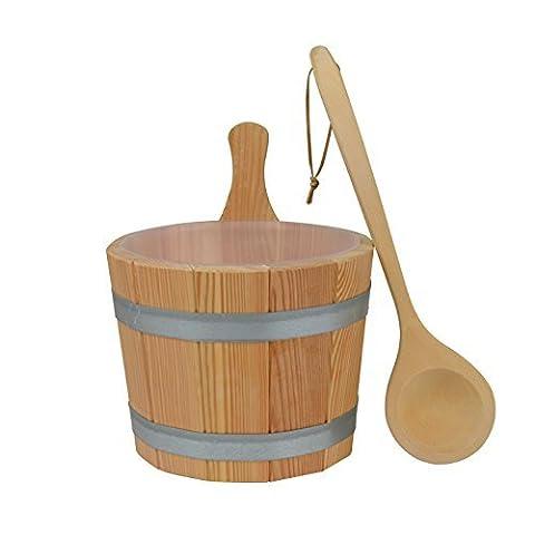 Sauna Set #610, 3-teilig, Kübel aus Lärchenholz, Kunststoffeinsatz,