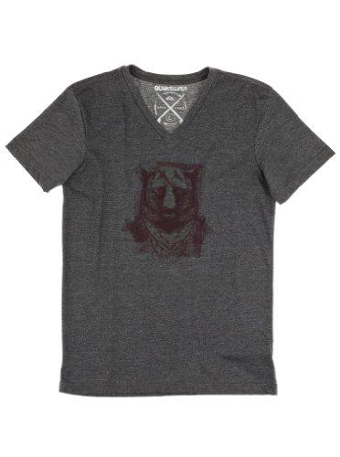 Quiksilver Men's T-Shirt col V à Manches Courtes pour Femme Chiné Gris