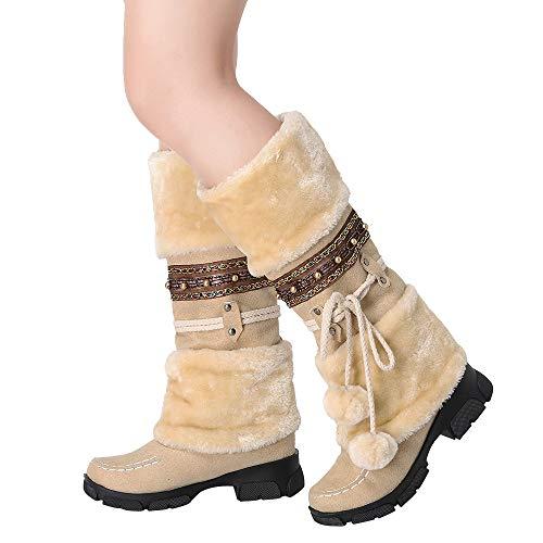 TianWlio Stiefel Frauen Herbst Winter Schuhe Stiefeletten Boots Wildleder Haarballen Runde Zehe Platz Absatz Schuhe Halten Warme Schlüpfen Schnee Stiefel Beige 38