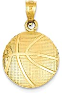IceCarats 14k Yellow Gold Basketball Necklace Pendant Charm