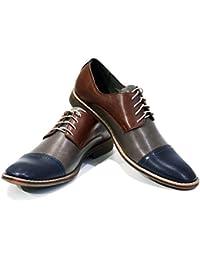 Modello Castellammare di Stabia - 46 EU - Cuero Italiano Hecho A Mano Hombre Piel Vistoso Zapatos Vestir Oxfords - Cuero Cuero suave - Encaje