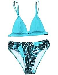 723285659f1402 TEBAISE Zweiteilig Badeanzug 2019 Damen Reizvolle Blatt Muster Bikini-Sets  Bademode Swimsuit Beachwear Tankinis…