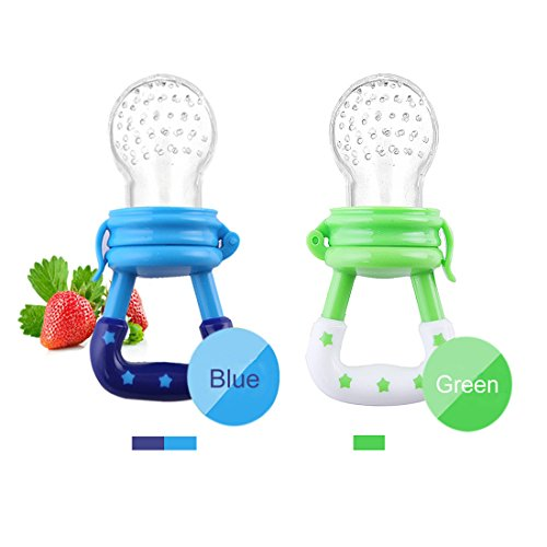 Baby Silicone Teething Toy-Fresh Fruit Food Feeder Soother with Handgrip Baby Food Bag Baby Teether with Nipple Food Infant Feeding Toys with Teat-Pacifier for Boys and Girls-2 PCS (Blue,Green)