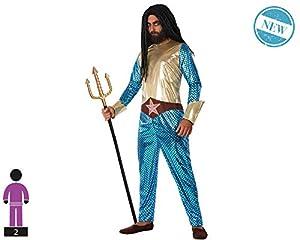 Atosa-61529 Atosa-61529-Disfraz Heroe Comic Metalizado-Adulto Hombre, Color azul, XL (61529