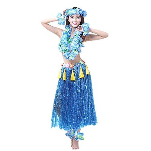 Imagen de hawaiano hula vestido falda hierba guirnaldas de flores accesorios de playa dance costume disfraces azul