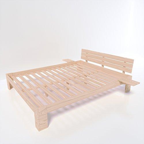MSS® Doppelbett Duo 200x180 cm Natur lackiert aus Massivholz mit Lattenrost und Nachttisch