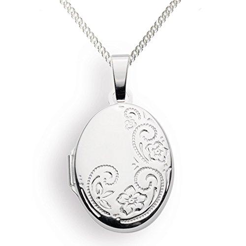 Medaillon Oval Amulett 925 Silber Herz zum öffnen für Bildereinlage/ 2 Fotos - von Haus der Herzen® (mit Kette) - Haus Foto