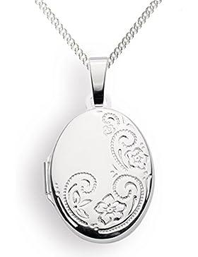 Medaillon Oval Amulett 925 Silber Herz zum öffnen für Bildereinlage/ 2 Fotos - von Haus der Herzen®