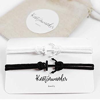 Partnerarmbänder Anker schwarz – weiß