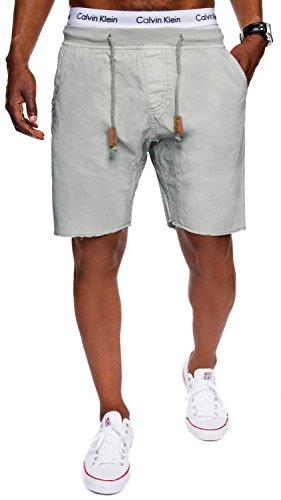 Grau Kariert Shorts (INDICODE Herren Shorts Carver Destroyed Used Look Cargo Bermuda Kurze Hose Jeans-Shorts Kariert Karo Chino Battlefield Carver 70-049 Grau M)
