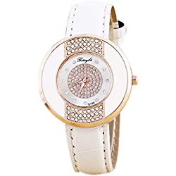 Rhinestone Wrist Watch - Gerryda Fashion Women Watch Leather Band Sport Analog Quartz Wrist Watch, White