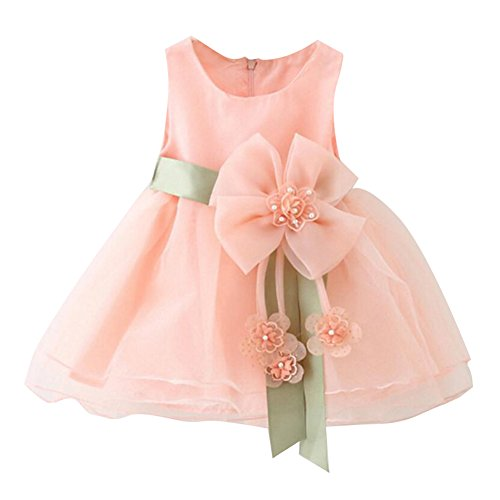 Kleinkind Baby Mädchen Blütenblätter Blume ärmellose Hochzeit formale Brautjungfer Partei Prinzessin Kleid rosa / 80cm / 6-12M Rosa Formale Kleid