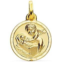 Médaille ange de la Garde de beaux rêves Or 18carats 15mm Médaille naissance/baptême