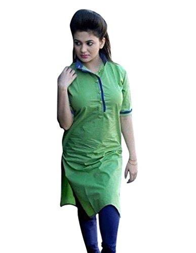 Kurti (Sai Fab Women\'s Cotton Printed Green Kurti) (Free & XXL Size)