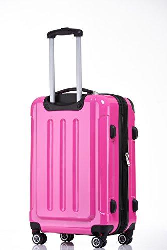 BEIBYE Zwillingsrollen 2048 Hartschale Trolley Koffer Reisekoffer in M-L-XL-Set in 14 Farben (M, PINK) - 6