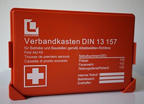 BETRIEBS VERBANDSKASTEN PREMIUM LÜLLMANN Erste Hilfe Koffer DIN 13157 Verbandkasten + Wandhalter orange 620150
